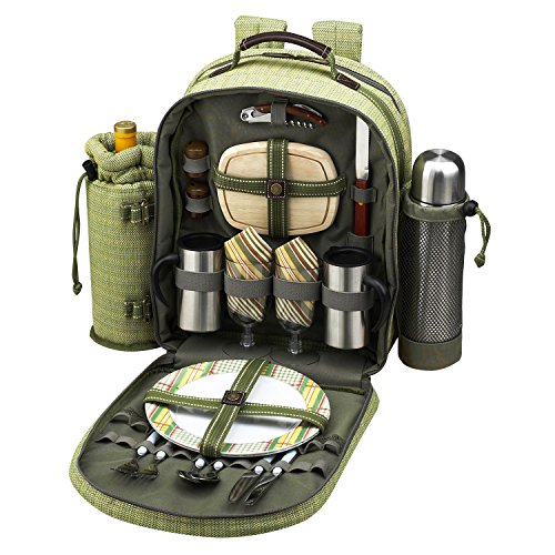 Picnic at Ascot - Deluxe Equipped 2 Person Eco Picnic Backpack with Coffee Service, Cooler & Insulated Wine Holder - Olive (Person Eco Picnic Basket)