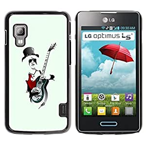 LECELL -- Funda protectora / Cubierta / Piel For LG Optimus L5 II Dual E455 E460 -- Rock Guitar Player Cool --