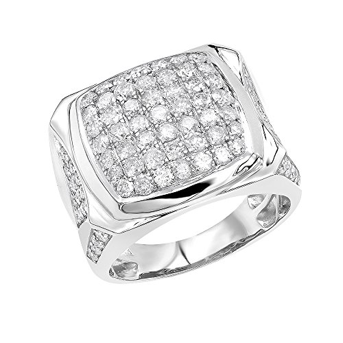 (Statement Jewelry: 10k Gold Mens Diamond Ring 3 Carat Pinky Band 3ctw (White Gold, Size 10.5))