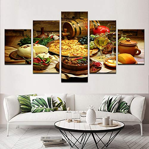 Lona Decoracion For El Hogar Marco De La Pintura Del Arte Moderno De La Pared Del Restaurante Cocina Modular Posters Imagenes 5 Trozos De Alimentos Y Bebidas De Alta Definicion Impreso Lienzo