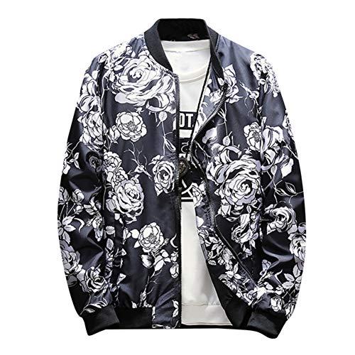 (Men Vintage Print Bomber Jacket Stylish Front Zip Retro Outdoor Sportswear by Lowprofile)