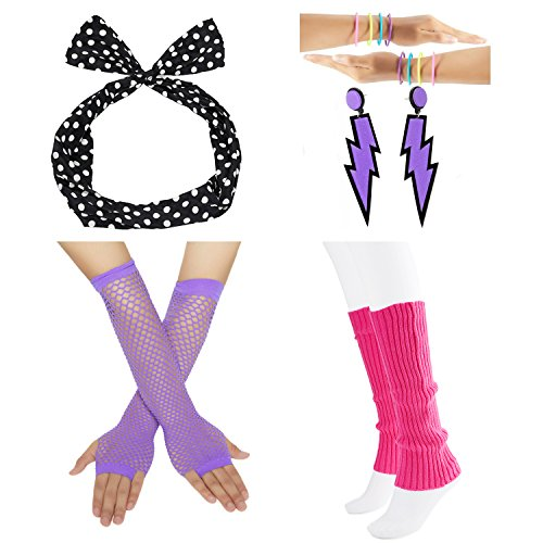 officematters 80s Fancy Outfit Costume Accessories Set,Leg Warmers,Fishnet Gloves,Earrings, Headband, Bracelet and Beads (OneSize, (Rings Costume Accessories)