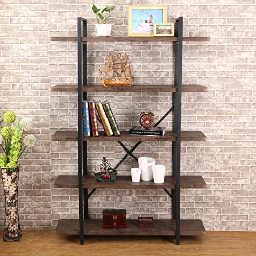 O&K FURNITURE 5-Tier Industrial Style Bookshelf, Wood and Metal Bookcases Furniture, 70