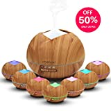 MEIXX 400ml Essential Oil Aroma Diffuser, Wood Grain Ultrasonic Humidifier, Cool Mist Aromatherapy, 4 Timer Settings & Waterless Auto Shut-Off, 7 LED Light Colors for Bedroom Lving