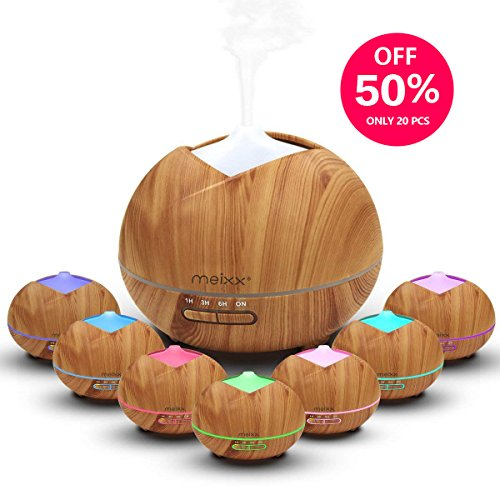 Essential Oil Diffuser, MEIXX 400ml Wood Grain Ultrasonic Humidifier, Office Scent Cool Mist Aromatherapy, 4 Timer Settings & Waterless Auto Shut-Off, 7 LED Light Colors for Bedroom Living Yoga