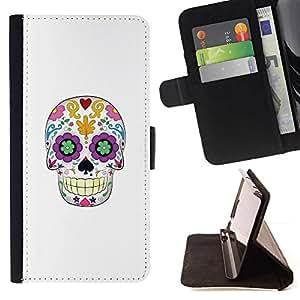 Momo Phone Case / Flip Funda de Cuero Case Cover - Cráneo floral blanca minimalista Primavera - Samsung Galaxy S6 EDGE