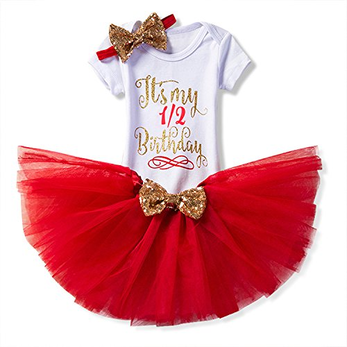 NNJXD Girl Newborn It's My 1/2 Birthday 3 Pcs Outfits Romper+Skirt+Headband Size (6) 0-6 Months Red