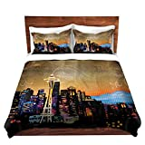 "DiaNoche Designs Seattle Skyline Cover, 3 Queen/ Full Duvet Only 88"" x 88"""