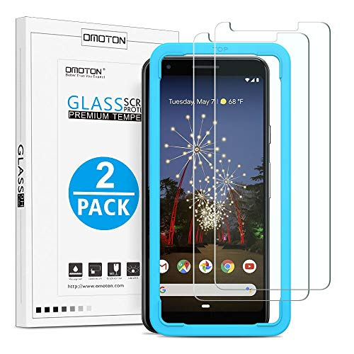 OMOTON [2 Pack] Screen Protector for Google Pixel 3a, [Updated Version] Tempered Glass/ Easy Installation/ Anti-Scratch Screen Protector for Google Pixel 3a 5.6 Inch, 2019 Released