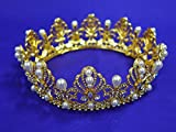 Gold Rhinestone Pearl Crown Wedding Princess Costume Prom crown28