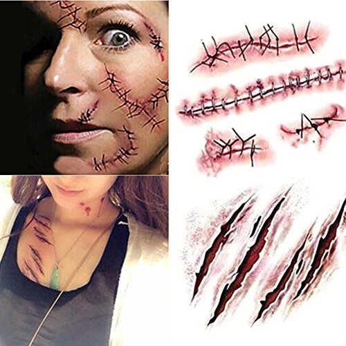 SHZONS Horror Realistic Waterproof Temporary Tattoo Sticker Fake Bloody Wound Stitch Scar Scab Halloween Masquerade Prank Makeup Props(5pcs)