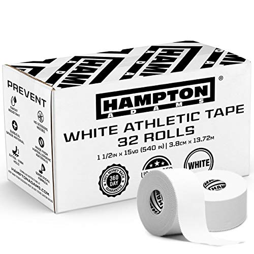 Hampton Adams (32 Pack) White Bulk Athletic Tape - 1.5 x 45 feet Per Roll - NO Sticky Residue & Easy to Tear - Perfect for Sports Athletes, Trainers & First Aid Injury Wrap: Fingers Ankles Wrist