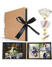 Koooper Album Photo DIY, Scrapbook (80 Pages, 40 Feuilles) avec des Ciseaux, Bande de Dentelle décorative, Autocollants - Cadeau pour Un Souvenir d'amour, Amis, Famille, Enfants