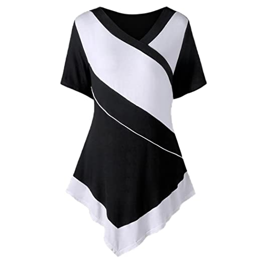 a24d476d9fe9d2 Alonea Women Blouse Womens V-Neck Short Sleeve Asymmetric Patchwork T-Shirt  Tops (