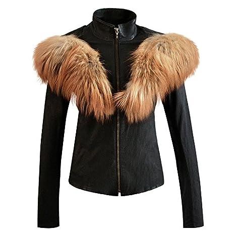 Zwingtonseas Women Fashion PU Leather Coat with Fake Fur Collar Long Sleeve Zippered Jacket at Amazon Womens Coats Shop