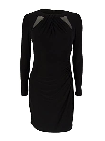 RALPH LAUREN Lauren Women\u0027s Long Sleeve Mesh Trim Dress (0P, Black)