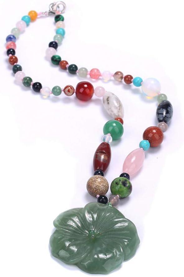 AOKIGN Collar De Cristal Colgante De Moda Piedras Preciosas Cadena De Perlas Redondas Joyería De Piedra Clásica