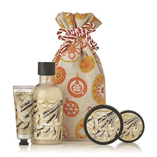 The Body Shop Warm Vanilla Gift Sack, Exclusive Holiday Scent, Made With Community Trade Shea Butter, 4Piece (The Shop Body Christmas)