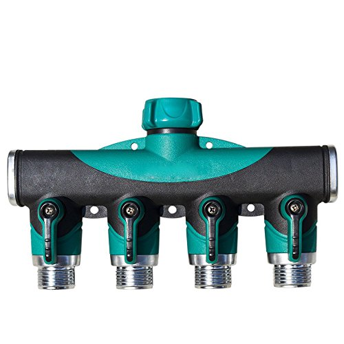 Toch 4-way Garden Hose Splitter Heavy Duty Hose Connector Watering Splitter Hose Faucet Manifold with Shut Off Valve Water Sprinkle - Manifold Connector