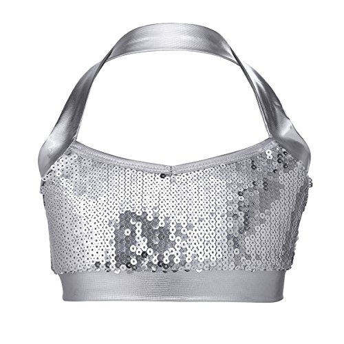 Alvivi Kids Girls Glittery Sequin Halter Neck Bra Top Ballet Dance Performance Costume Crop Tops Silver 10-12 -