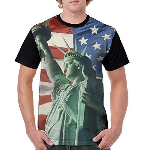 Men's Raglan Short Sleeve T-Shirts US Statue of Liberty Casual Baseball Athletic Tee Black -