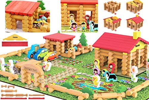 Shinington Wooden Farm Playset- Wooden Log Building Set Farm House Wooden Construction Toys 223 Pieces Animal Farm - Wooden Building Toys for 3 4 5 6 Year olds ()
