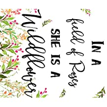 In A Field Of Roses She Is A Wildflower Quote Blanket Fabric by shopcabin - Custom Fabric with Spoonflower - Printed on Minky Fabric by the Yard