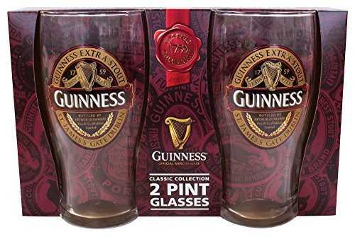 Guinness Red Collection Pint Glasses, 20 ounce, Set of 2 - Beer Glass for Bar and Kitchen (Pint Guinness)