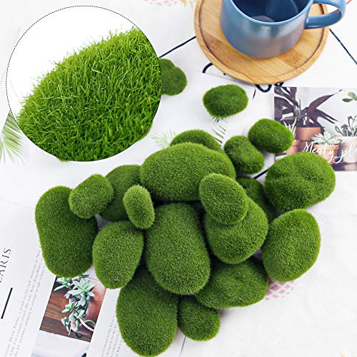 BigOtters 24 PCS Artificial Moss Rocks Decorative, 6 Size Faux Green Moss Covered Stones Green Moss Balls Fake Moss Decor for Fairy Gardens Floral Arrangements Crafting