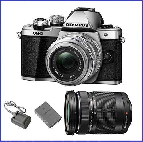 Olympus OM-D E-M10 Mark II Mirrorless Micro Four Thirds Digital Camera with 14-42mm II R Lens [Silver] & Olympus M.Zuiko Digital ED 40-150mm f/4.0-5.6 R Lens [Black]