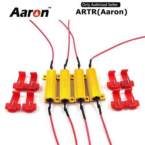 Led Turn Signal Bulbs (4Pcs Aaron 50W 6ohm Load Resistors - Fix LED Bulb Fast Hyper Flash Turn Signal Blink Error Code)
