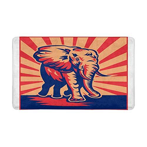 INTERESTPRINT African Bull Elephant Charging Done Indoor Doormat Latex Backing Non Slip Door Mat Entrance Rug 30