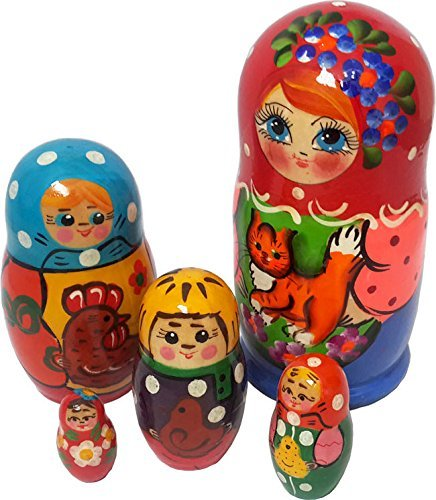 [5 Piece Family Matryoshka Nesting dolls - Kids and Pets - Wooden Handmade Stacking Doll. Fun Gift. 4 ⅔