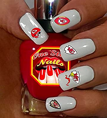 Kansas City Chiefs Clear Vinyl PEEL and STICK (NOT Waterslide) nail  decals/stickers V1 (Set of 64)
