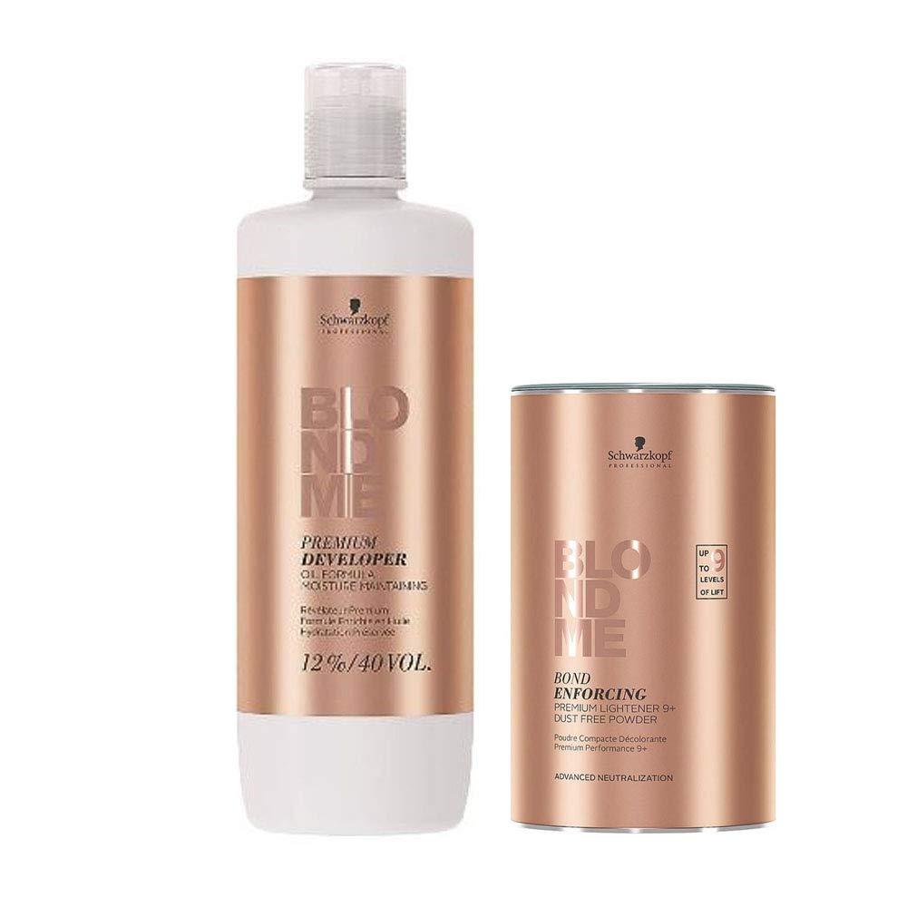BlondMe Combo Premium Developer 12%/40V and Bond Enforcing Premium Lightener 9+ Powder