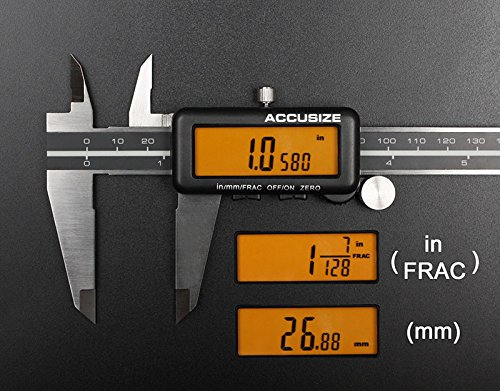 AccusizeTools - 12'' Full Screen Yellow LCD Electronic Digital Caliper, Metric/Inch/Fractional, Professional Quality, 1/128'', 1110-1838