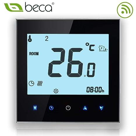 BECA 1000 Series 3/16A Pantalla táctil LCD Agua/Calefacción eléctrica/Caldera Termostato de control de programación inteligente con conexión WIFI ...