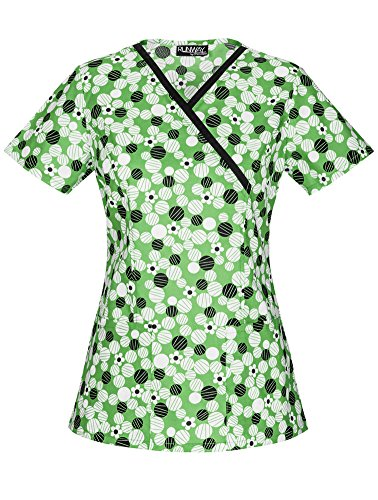 Cherokee Womens Daisy - Runway Stretch by Cherokee Women's Mock Wrap Daisy Dots Print Scrub Top Small Print