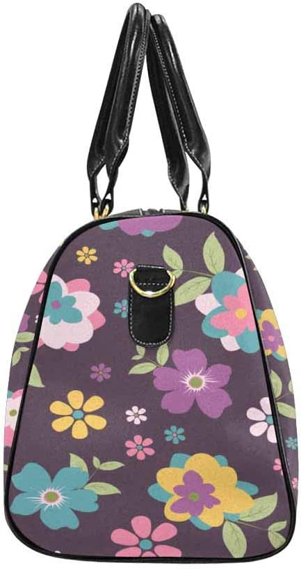 InterestPrint Unisex Duffel Bag Carry-on Bag Overnight Bag Weekender Bag Purple Tiny Floral