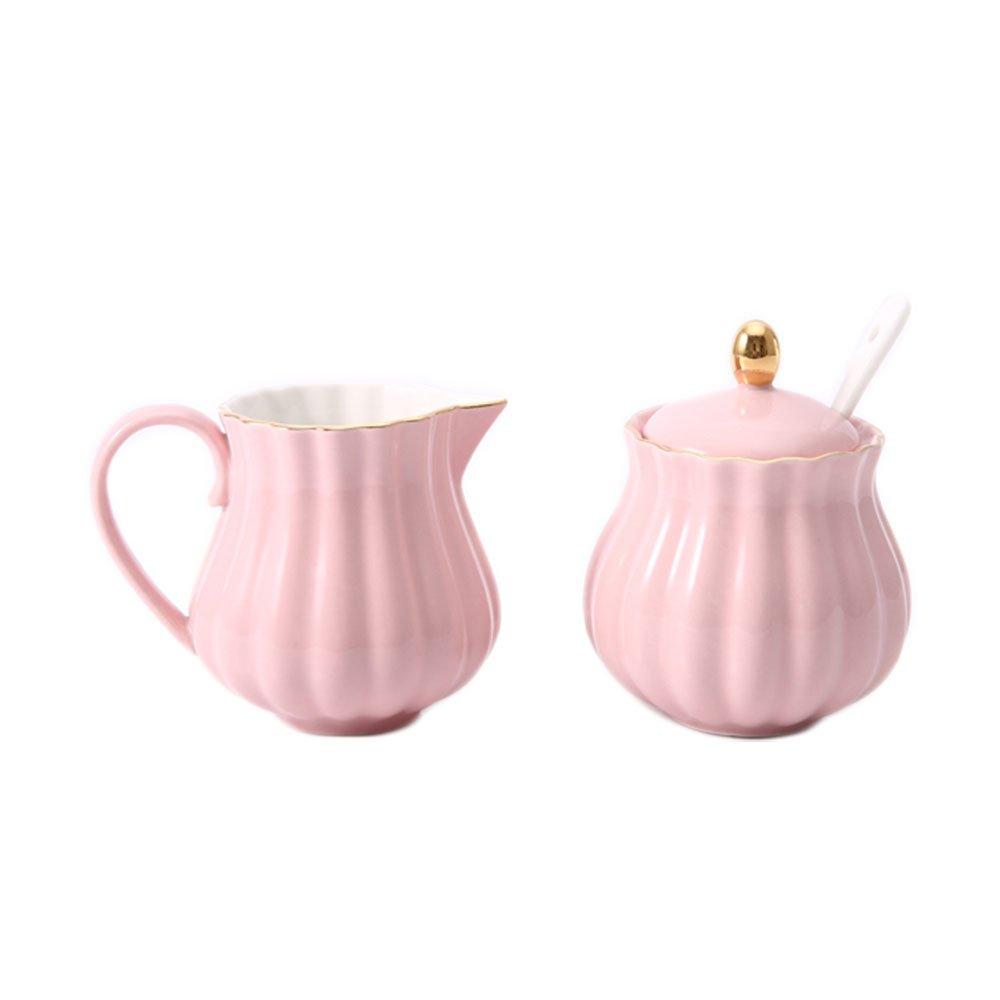 CHOOLD Elegant Flower Design Ceramic Sugar and Creamer Set with Lid Spoon Creamer Serving Set Coffee Serving Set Wedding Gift 7.5oz