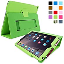 iPad Air 2 Case, Snugg - Green Leather Smart Case Cover [Lifetime Guarantee] Apple iPad Air 2 Protective Flip Stand Cover with Auto Wake / Sleep