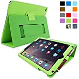 Snugg iPad Air 2 Case  Smart Cover with Kick Stand & Lifetime Guarantee (Green Leather) for Apple iPad Air 2 (2014)