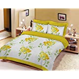 4 Pcs Complete Polycotton Duvet Quilt Cover Bedding Set With Valance Sheet And Pillow Case (Double, Floral Sketch Yellow) by Homefurnishing