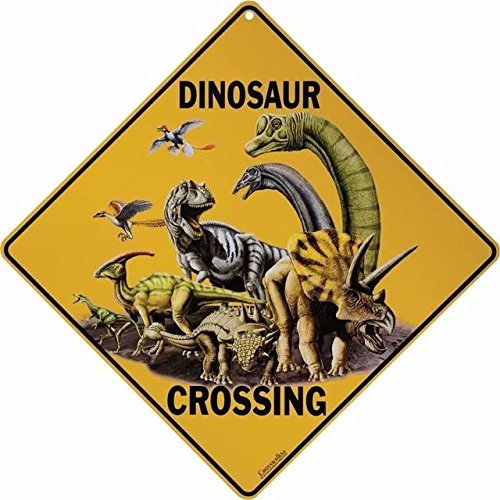 Vintage Garage Signs and Decor Dinosaur Crossing Fence Decorations Outdoor Metal Sign