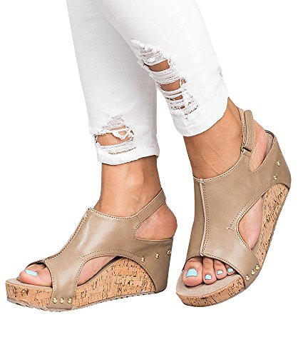 ThusFar Women Casual Sandals Peep Toe Pu Belt Buckle Hook-Loop Wedges Sandals Summer Platform Sandals Khaki