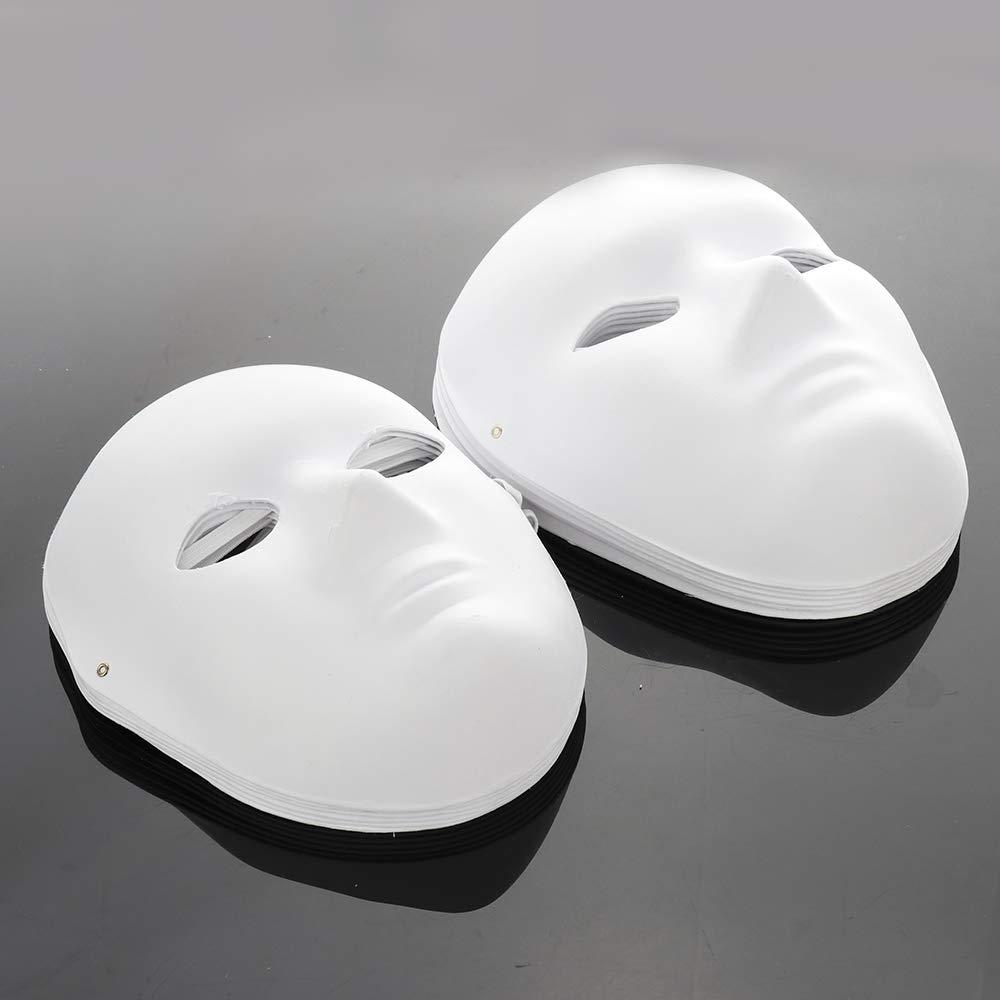 Pannow 12 PCS DIY White Mask Paper Full Face Opera Masquerade Mask Plain Mask Halloween Mask Mardi Gras Mask 6pcs Male 6pcs Female
