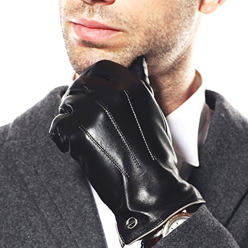 Luxury Men's Touchscreen/texting Winter Italian Nappa Leather Gloves (Plush/cashmere Lining) (9(True to US Standard Size), Black (2014 Winter New Cashmere Lining, True to US Standard Size )) (Leather Italian Glove)