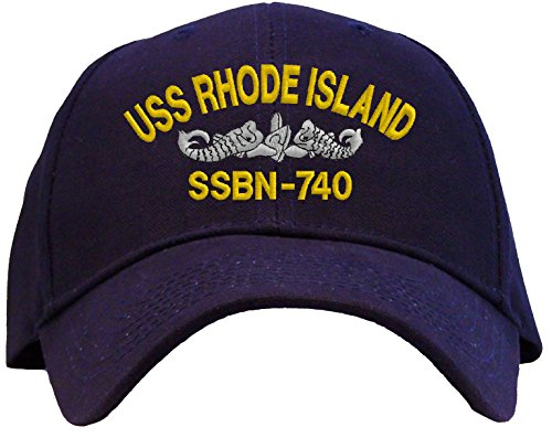 USS Rhode Island SSBN-740 Embroidered Baseball Cap - Navy ()