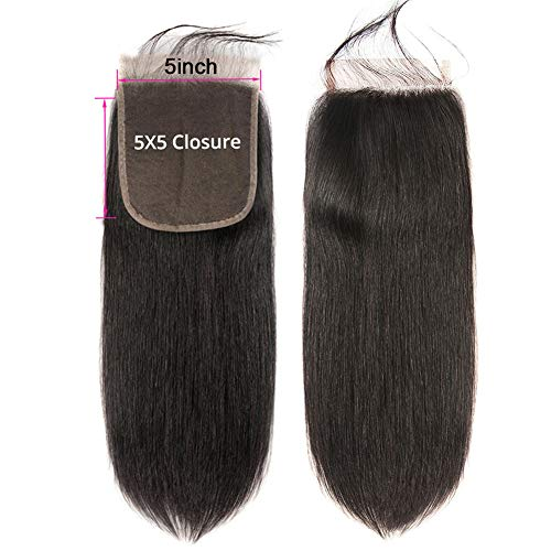 CYNOSURE-Hair-5×5-Lace-Closure-Straight-Human-Hair-Closure-Free-Part-with-Baby-Hair-Natural-Black-Color-5×5-10Inch