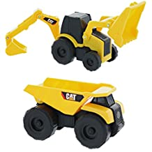 Road Rippers CAT Mini Machine Dual Axle Dump Truck and Backhoe Free-Wheeling Compact Construction Vehicle Toys with Adjustable Parts (2 Pack)
